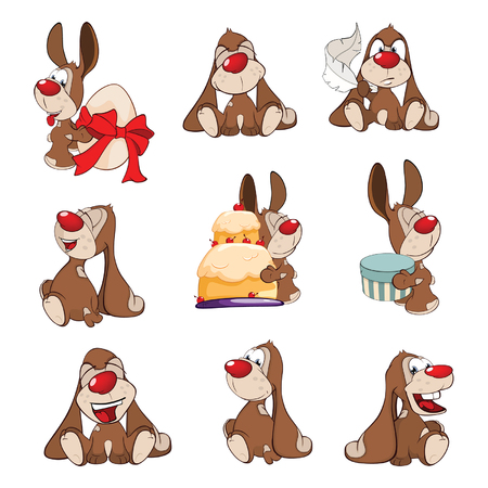 Set of cartoon illustration a cute rabbits for you design.