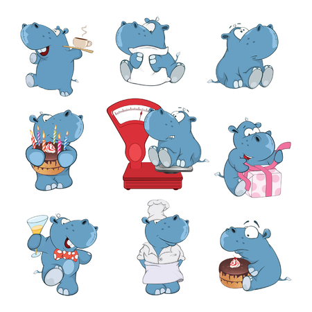 Set of cartoon illustration. A cute hippo for you design illustration.