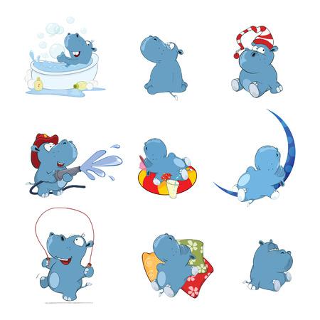 Set of cartoon illustration. A cute hippo for you design illustration. Stock fotó - 92994607