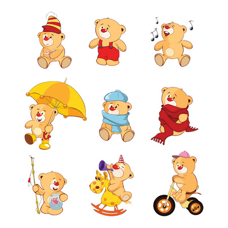 Set of Cartoon Illustration Stuffed Bears for you Design