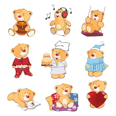 Conjunto de ursos recheados de ilustração dos desenhos animados para você Design