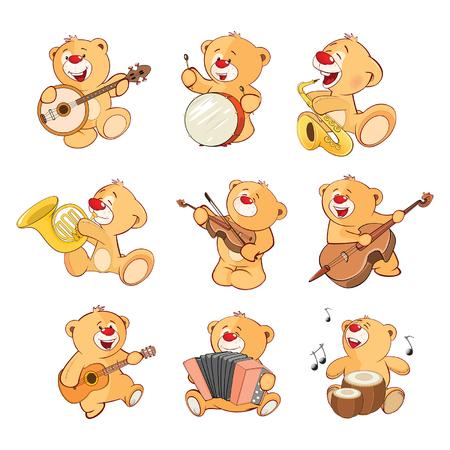 Set of Cartoon Illustration Stuffed Bears for you Design