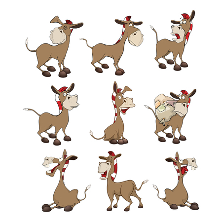 Set of Cartoon Illustration Donkeys for you Design