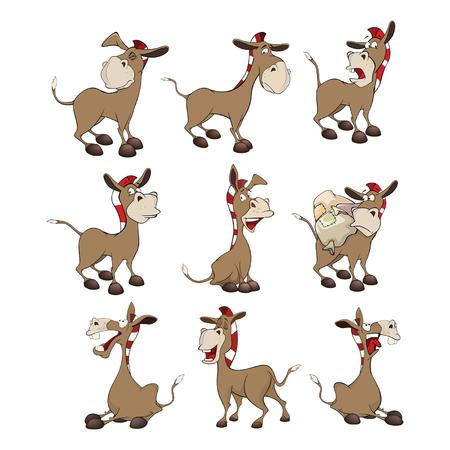 Set of Cartoon Illustration Donkeys for you Design