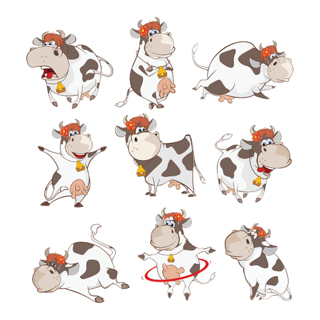 Set of Cute Cow Cartoon Illustration.