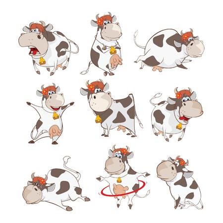 Zestaw ilustracji kreskówka ładny krowa.
