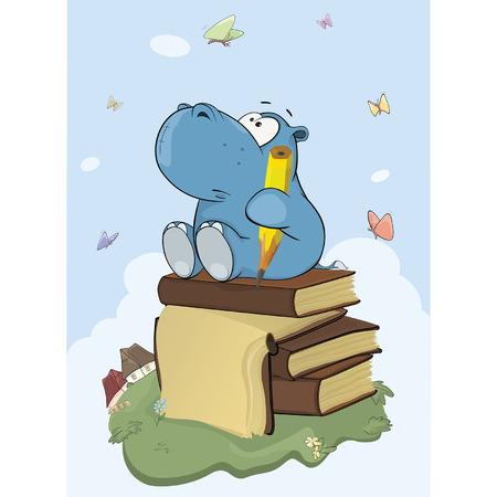 Illustration of a cute little hippo poet cartoon.