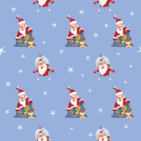 Background with Cute Santa Claus. Seamless Pattern