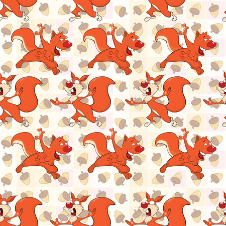 Background with Cute Squirrels. Seamless Pattern