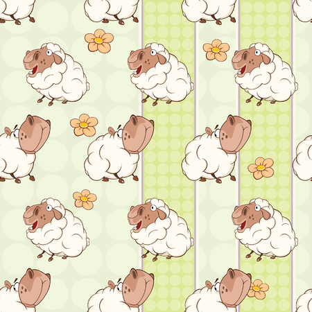 Background with cute sheep. Seamless pattern illustration.