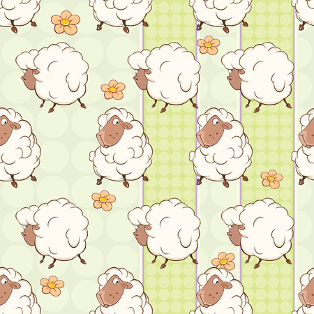 Background with Cute Sheep Seamless Pattern Ilustração