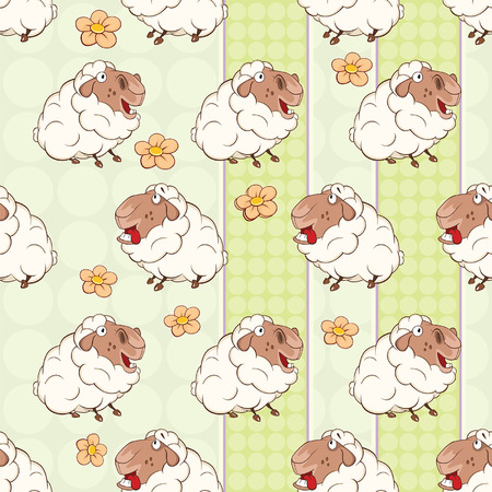 Background with Cute Sheeps. Seamless Pattern