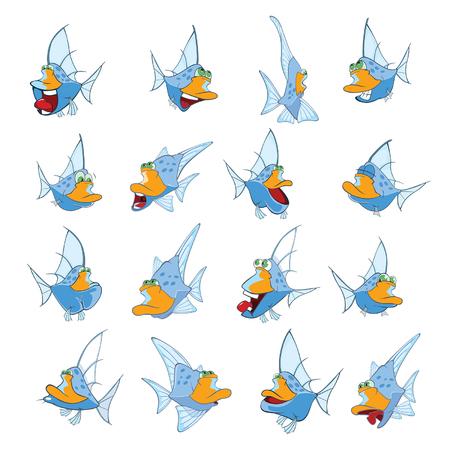 Conjunto de Ilustração dos desenhos animados. Um peixe bonito para você Design Foto de archivo - 94683703