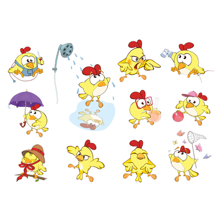 Set of Cute Chickens in Different Poses for you Design. Cartoon Character