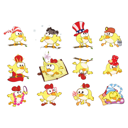 Set of Cute Chickens in Different Poses vector illustration