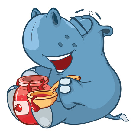 Illustration of a Cute Little Hippo Cartoon Character
