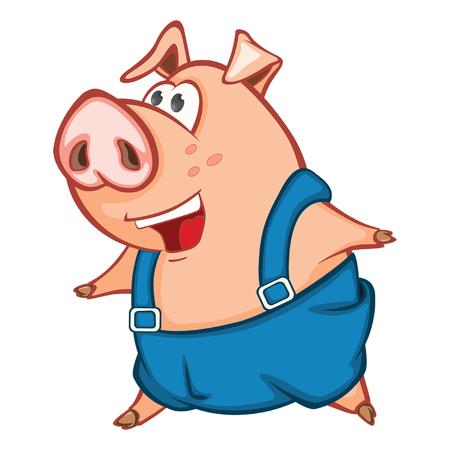 Illustration of a cute pig cartoon character.