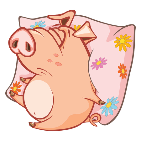 Illustration of a cute pig cartoon character.
