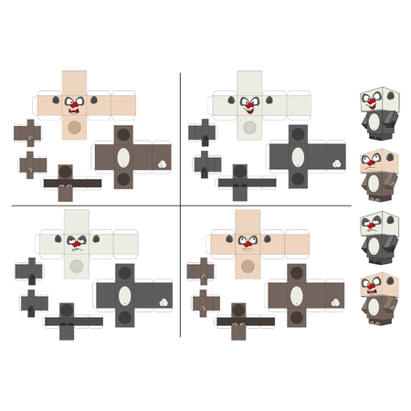Set of Panda Cubes. Toys for assemblage.