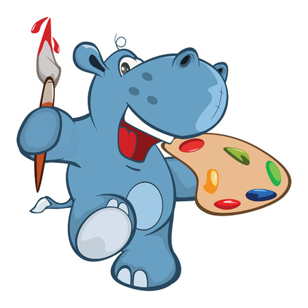 Illustration of a Cute Little Hippo with paint brush Cartoon Character