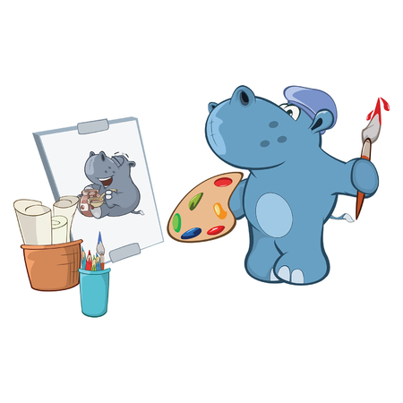 Illustration of a Cute Little Hippo Cartoon Character painting