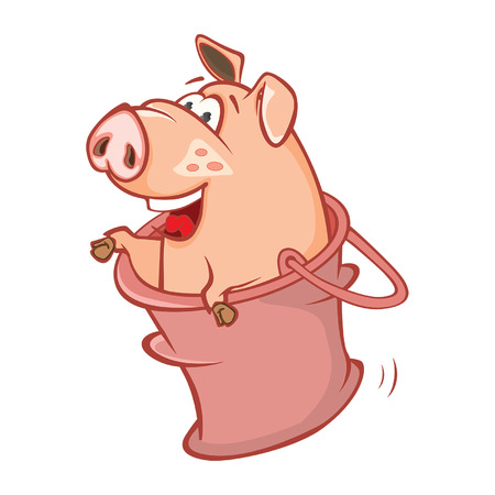 Illustration of a Cute Pig. Cartoon Character Vector illustration.