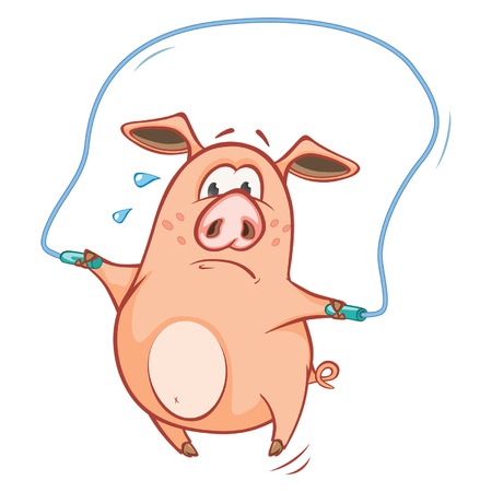 Vector illustration of a Cute Pig playing.