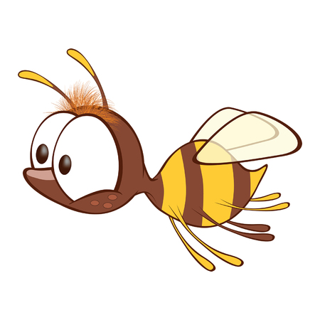 Illustration of a Cute Yellow Bee. Cartoon Character