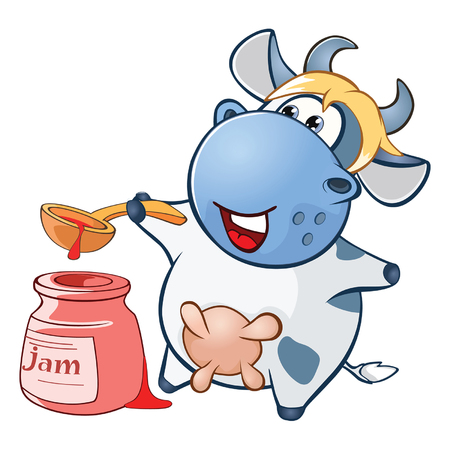 Illustration of a Cute Cow. Cartoon Character Illustration