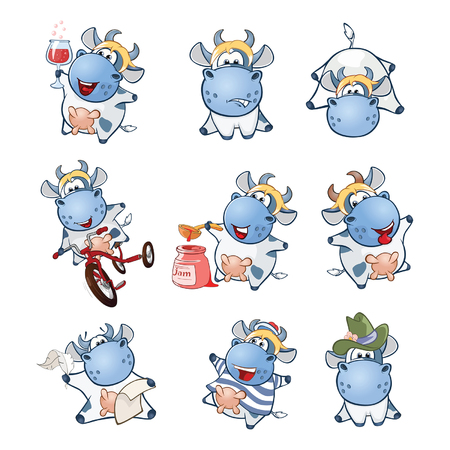 Set of Cartoon Illustration. A Cute Cow for you Design
