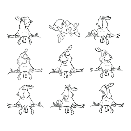 Set of Cute Parrots for you Design. Cartoon Character. Coloring Book. Outline