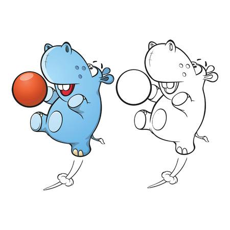Illustration einer niedlichen kleinen Hippo-Cartoon-Figur. Malbuch. Umriss