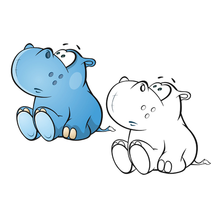 Illustration of a Cute Little Hippo Cartoon Character. Coloring Book. Outline