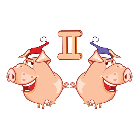 Illustration of a Cute Pig. Astrological Sign in the Zodiac Gemini. Cartoon Character Vecteurs
