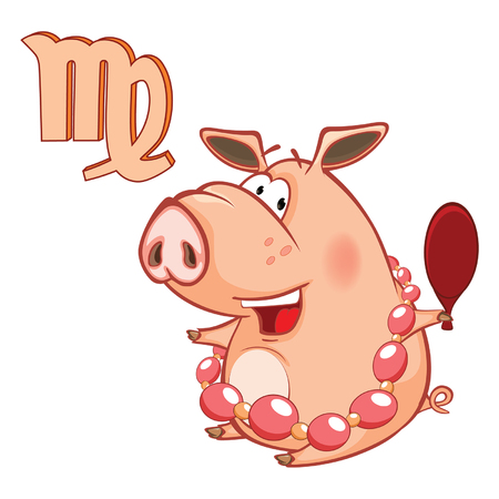 Illustration of a Cute Pig.Astrological Sign in the Zodiac Virgo. Cartoon Character