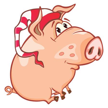 Illustration of a Cute Pig. Cartoon Character