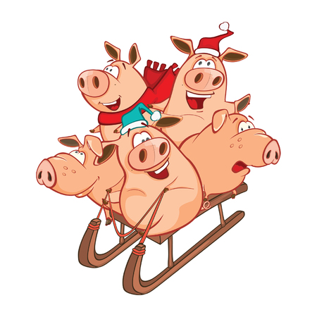 Vector Illustration of Funny Piglets on a Sled. Cartoon Character Illustration