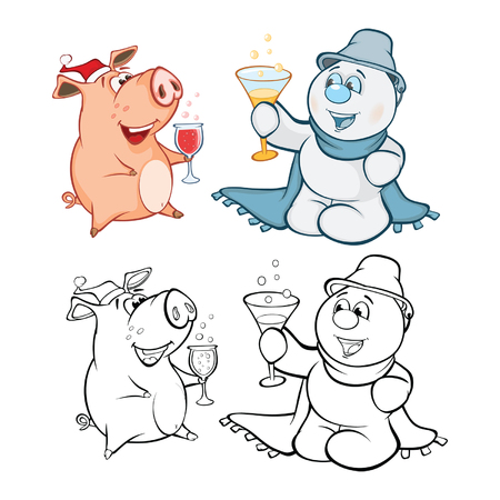 Vector Illustration of a Cute Pig and a Snowman. Coloring book cartoon Illustration