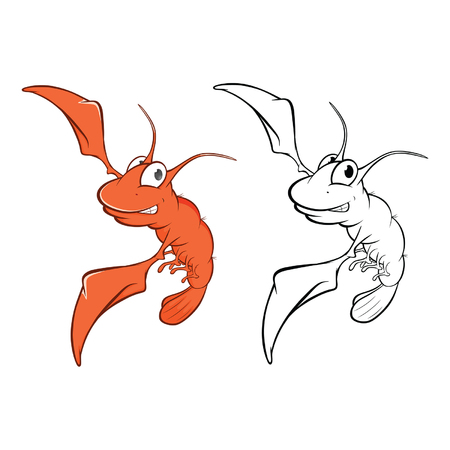 Vector Illustration Of A Cute Red Shrimp Cartoon Character. Coloring book Illustration