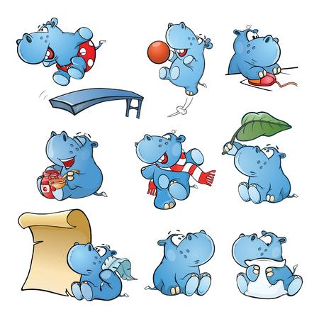 Conjunto de ilustración de dibujos animados de vector. Lindo hipopótamo para tu diseño