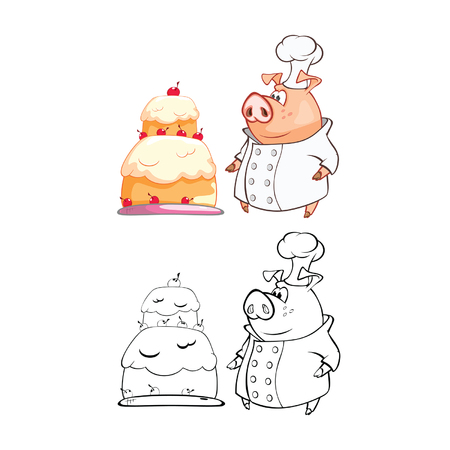 Vector Illustration of a Cute Pig Cook Cartoon Character 일러스트