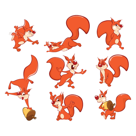 Set of Vector Cartoon Illustration. A Cute Squirrel for you Design