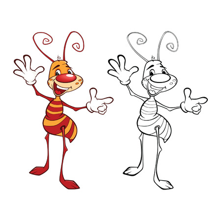 Vector llustration of a cute little ant cartoon character. Coloring book Stock Illustratie
