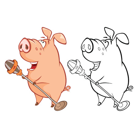 Vector Illustration of a Cute Pig Musician. Coloring Book Cartoon Character