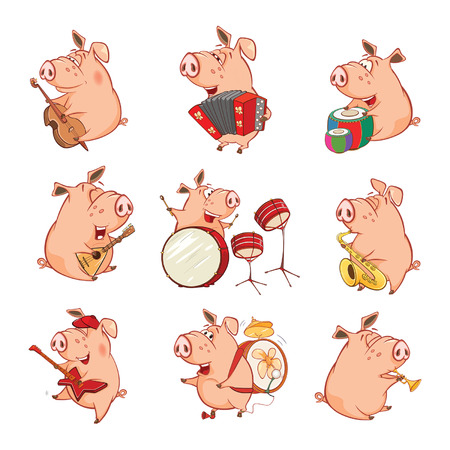 Vector Illustration of a Cute Pig Musician. Set Cartoon Character