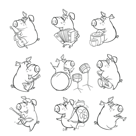 A Cute Pig Musician. Set Cartoon Character for you Design and Computer Game. Coloring book outline Çizim