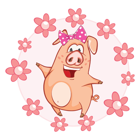 Vector Illustration of a Cute Pig. Cartoon Character
