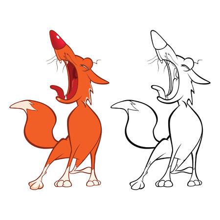 Red Fox for you Design and Computer Game. Coloring Book Outline Set Иллюстрация