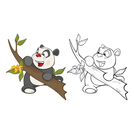 Panda for you Design and Computer Game. Coloring Book Outline Set
