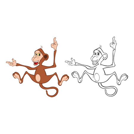 Vector Illustration Of A Cartoon Character Monkey For You Design And Computer Game. Coloring Book Outline Set